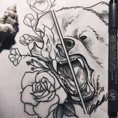 bear skull and flowers for tomorrow 🐻🌷#tattoodesign #illustration #drawing #sketch #dotwork #dotworktattoo #bear #skull #flowers #themagicsociety #pforzheim (hier: The Magic Society)