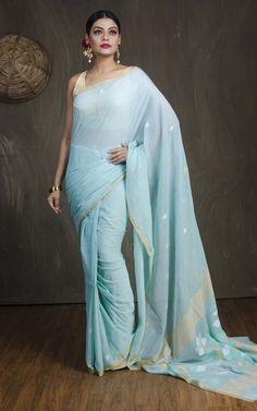 Pure Handloom Khadi Soft Cotton Saree with Jamdani Pallu in Powder Blue Indian Style, Indian Wear, Indian Sarees, Pakistani, Traditional Fashion, Saree Dress, Saree Styles, Beautiful Saree, Saree Collection