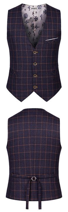 Casual Business Formal Slim Plaids Printing Suits Vest British Style Waistcoats for Men