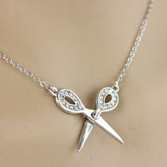 Small Bling Scissor Pendant Necklace