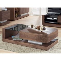 Walnut Black Glass Coffee Table JF613CT - Wooden Coffee Table, Storage, Oak, Furnitureinfashion UK