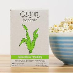 Parmesan & Rosemary Popcorn, Quinn Popcorn: This non-GMO snack is flavored with Peruvian and Spanish rosemary mixed with parmesan made from hormone-free milk.
