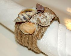 seashell crafts | ... seashell napkin rings. Be sure tomake the seashell centerpiece too, it