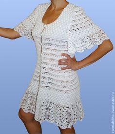 Пляжные платья ручной работы. Заказать Платье-халат. Ksenia Bilina. Ярмарка Мастеров. Платье летнее, Вязание крючком, вязание