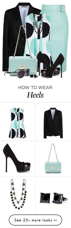 """Mint Pencil Skirt and Polka Dot Top"" by brendariley-1 on Polyvore featuring ESPRIT, Balenciaga, Marni, Alexander Wang, Yves Saint Laurent, Nordstrom Rack and Simon Frank"