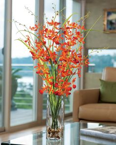 Petals Silk Flowers And Home Accessories With Elegant Dancing Orchid And Grass Artificial Flower Arrangement with Petals Silk Flowers And Home Accessories and Furniture + Accessories #beautifulflowersinvase