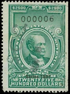 United States Revenues, Scott RD362 1951 $2,500 Bright green, hand stamp and several cut cancels, usual natural straigh