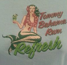 TOMMY BAHAMA LADIES LIGHT BLUE T-SHIRT SMALL *MERMAID REFRESH TOMMY BAHAMA RUM*