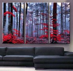 Huge 3 Panels framed depth Art Canvas Print beautiful Forest trees autumn fog morning Wall home office decor interior Best Home Interior Design, Beautiful Houses Interior, Interior Decorating, Canvas Art Prints, Canvas Wall Art, Canvas Canvas, Canvas Ideas, Painting Canvas, Photo Canvas