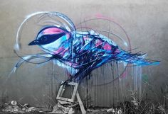 Beautiful graffiti birds by Brazilian street artist L7m - would make cool tattoos!