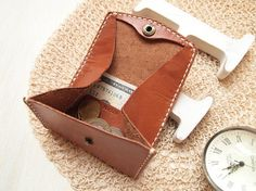 Personalized Coin Wallet / Purse Leather Hand Stitched by HarLex