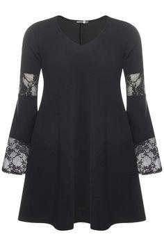 Plus Size Lace Panelled Flute Sleeve Dress
