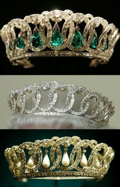 The Grand Duchess Vladimir Tiara was made in 1874 for Grand Duchess Maria Pavlovna. Smuggled out of Russia for her after the Revolution, she left it to her daughter, Elena, who was married to Prince Nicholas of Greece. In 1921, Queen Mary (Teck) purchased the jewels. It came with pearl drops, and Queen Mary had some emeralds she fixed so she could wear them with the crown as well. It has since become a favourite of Queen Elizabeth, and she even wears it without any stones from time to time.