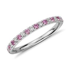 Pavé Pink Sapphire and Diamond Ring in 14K White Gold. FOUND IT!!!!! THIS IS EXACTLY WHAT I WANT!!!!!