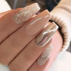 Chrome nails are the latest technology used by all trendy ladies and top nail bar salons. They use some gold/silver and metal nails to make them look gold foil/silver. Chromium nail powder can also be used. Have you tried Chrome Nail Art Designs bef Cute Acrylic Nails, Glitter Nail Art, Acrylic Nail Designs, Nail Art Designs, Nails Design, Nail Designs With Gold, Sparkle Nail Designs, Popular Nail Designs, Gold Nails