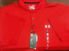 Under Armour Heat Gear Golf mens Casual shirt XL TG Loose Fit Red UPF 30 New