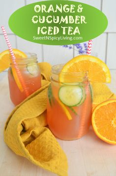 Friday Drink Day: Refreshing Orange & Cucumber Iced Tea Friday Drinking, Orange Amps, Iced Tea, Cucumber, Fruit, Drinks, Desserts, Summer, Recipes