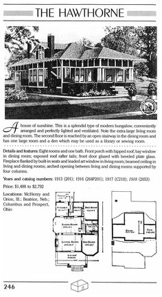 Sears Kit Home: The Hawthorne Second floor could easily be converted into a Master Suite Vintage House Plans, Vintage Homes, Cob Building, Building Plans, Craftsman Exterior, Craftsman Bungalows, Small House Floor Plans, House Kits, Rafter Tails