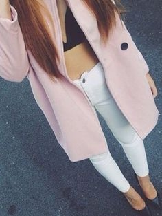 High waisted jeans with a crop top and a long coat #fall #style