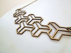 60s Geometric Pattern Wooden Necklace