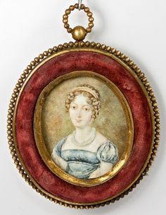 Antique French Portrait Miniature in Frame, A Beautiful Woman in from antiques-uncommon-treasure on Ruby Lane