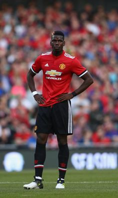 Paul Pogba of Manchester United during the International Champions Cup match between Manchester United and Sampdoria at Aviva Stadium on August 2, 2017 in Dublin, Ireland.