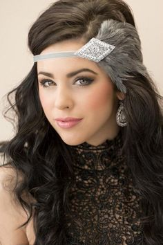 Items similar to Gatsby Wedding Headband Art Deco Headband Roaring Gray Feather Headband, Headpiece, Silver Flapper Headband Bridal Headpiece on Etsy Great Gatsby Headpiece, Flapper Headpiece, Gatsby Headband, Wedding Headband, Headdress, Fascinator, Bridal Hairpiece, Hair Wedding, Flapper Style