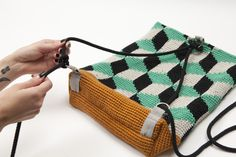 Kuutio backbag from Virkkuri photo by Saara Salmi 2014 (Molla Mills… Crochet Clutch, Crochet Purses, Tunisian Crochet, Crochet Yarn, Tapestry Crochet Patterns, Cotton Cord, Tapestry Bag, Modern Crochet, Knitted Bags