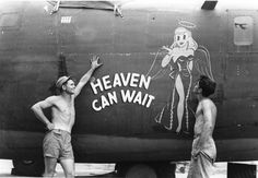 "Nose Art of the Southwest Pacific Area - ""Heaven Can Wait"" - B24D, 90th Bomb Group, 400th Squadron - Serial #42-41216 - PH00005477 (Frederick German Collection)"