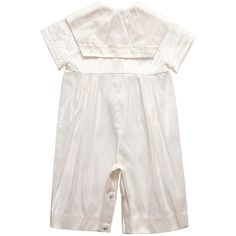 Baby Boys Ivory Silk Romper Suit with Blue Bow Tie |