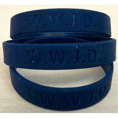 12 W.W.J.D. Silicone Wrist bands WWJD Dark blue Navy *** More info…