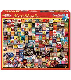 White Mountain Puzzles Matchbook Collage - 1000 Piece Jigsaw Puzzle in Brain Teasers. Best Jigsaw, Puzzle Shop, Hobby Trains, Puzzle 1000, Puzzle Toys, Inexpensive Gift, Brain Teasers, Toy Store, Diy Crafts To Sell