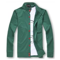 Men Autumn Winter Long Sleeve Scoop Green Knitting Cardigan... ($14) via Polyvore