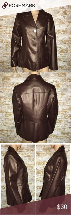 Wilson Leather Jacket Brown Medium Fitted Fall Wilson Leather Fitted Leather Jacket Brown Button Up Collar Medium Lined  Armpit to armpit lying flat is 20 inches wide. Waist line flat is 17 inches wide. Armpit to cuff is 17 inches. Shoulder seam to cuff is 24 1/2 inches long. Neckline to bottom of jacket is 26 inches long. Nice shiny leather in excellent preowned condition! Perfect for fall or winter! Wilsons Leather Jackets & Coats