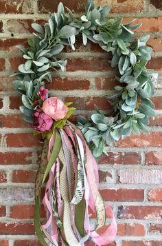 Lambs ear and peony wreath summer wreath rag bow wreath Shabby Chic Kranz, Shabby Chic Wreath, Shabby Chic Decor, Shabby Chic Farmhouse, Country Farmhouse Decor, French Country Decorating, Grapevine Wreath, Bow Wreath, Floral Wreath