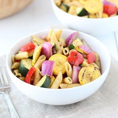 Sunset Patio Pasta combines the great taste of grilled vegetables with seasoned pasta for the perfect summertime side dish. It goes great with Zesty Red Wine and Herb Steak. Photo credit: Nicole Shoemaker from Cooking for Keeps.