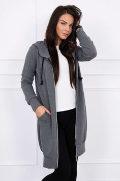 Gray women& sweatshirt - 92 Lei - Gray women& sweatshirt – 92 Lei – Composition: cotton, elastane – Order now! Fashion Addict, Outfit Of The Day, Street Wear, Bomber Jacket, Vogue, Street Style, Stylish, Sweatshirts, Womens Fashion