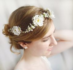 floral crown, bridal hair accessories, white flower wedding hairpiece, bridal headpiece, white rose - ANGEL HAIR -  flower girl circlet