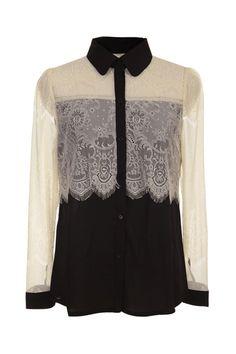 #Romwe Hollow Color Block Lace Shirt