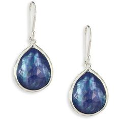 IPPOLITA Rock Candy Clear Quartz, Mother-Of-Pearl & Lapis Teardrop... ($520) ❤ liked on Polyvore featuring jewelry, earrings, apparel & accessories, clear crystal earrings, clear earrings, rock jewelry, tear drop earrings and teardrop jewelry