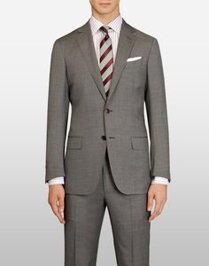Grey dotted pure wool suit by Zegna
