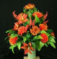 Orange and Brown Flowers 3 inch Vase Flower Arrangement, $32.99