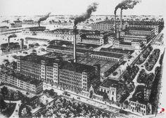 Lata 1890-1897 , Posiadłość fabryczno-mieszkalna I. K. Poznańskiego.  Budynki fabryczne już wykończone. W przyszłej części pałacowej nadal stoi dawny dom F. Kroeninga.