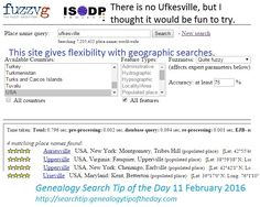 Search Tip: Try Fuzzy Gazetteer for problem place names