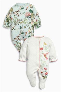 Ecru/Aqua Secret Garden Print Sleepsuits Two Pack (0mths-2yrs)