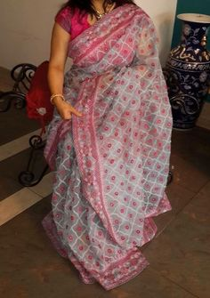 Exclusive Moslin Saree With Heavy Embroidery Work