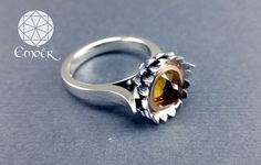 Handmade silver and red gold protea ring with Citrine. Ember Manufacturing & Design (PTY)LTD Handmade Silver Jewellery, Bespoke Jewellery, Silver Jewelry, Silver Rings, Red Gold, Jewelry Design, Fancy, Engagement Rings, Enagement Rings