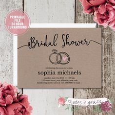 Bridal Shower Invitation Instant Download, Rustic Bridal Shower Invites, Simple DIY Wedding Invites, DIY Bridal Shower Invitations, Download by ShadesOfGrace1 on Etsy