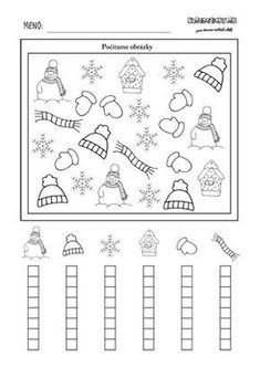 Zimný pracovný list pre deti - počítame zimné obrázky Christmas Activities, Winter Activities, Preschool Activities, Kindergarten Math Worksheets, Preschool Math, First Grade Lessons, Felt Books, English Activities, Math For Kids
