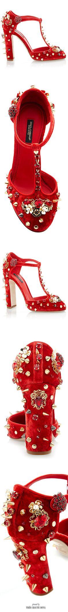 Dolce & Gabbana Red Velvet Studded T-Strap Pump ♔ SS 2015 ♔ Tres Haute Diva